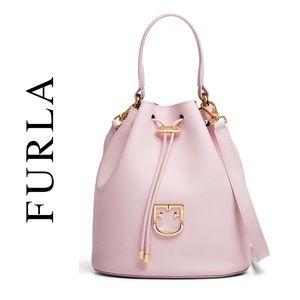 Furla Corona Drawstring Bucket Bag EUC